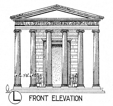 Temple of Athena Polias: reconstruction elevation of front ...