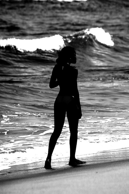 Girl Walking On The Beach, Mozambique, Africa  Shadow Of -2691
