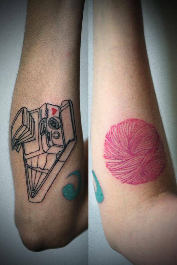 Knitting Tattoo Sleeve : Sx polaroid ball of yarn ged doublecrochets