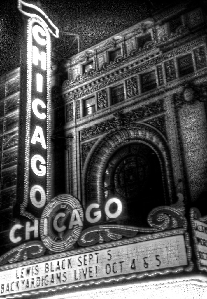 Chicago Theatre marquee in black and white, shot with holg ...