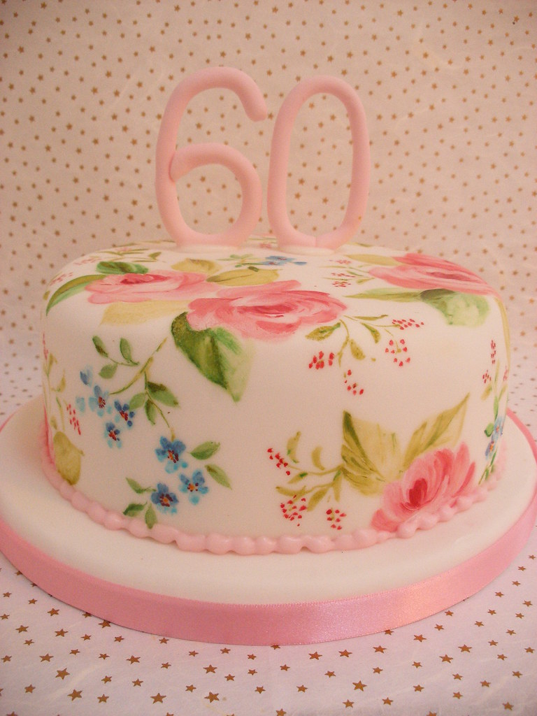 Painted 60th Birthday Cake Lemon Sponge Cake With Lemon Bu Flickr