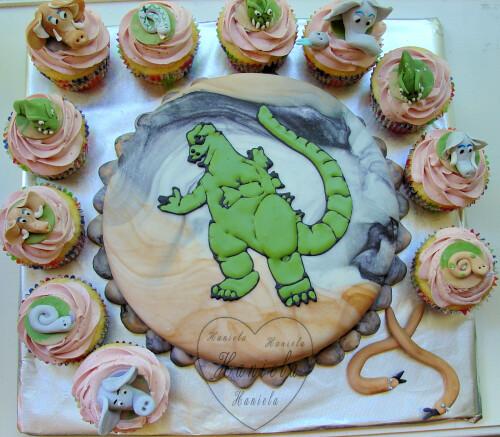Godzilla Cake And Cupcakes Vanilla Cake And Cupcakes