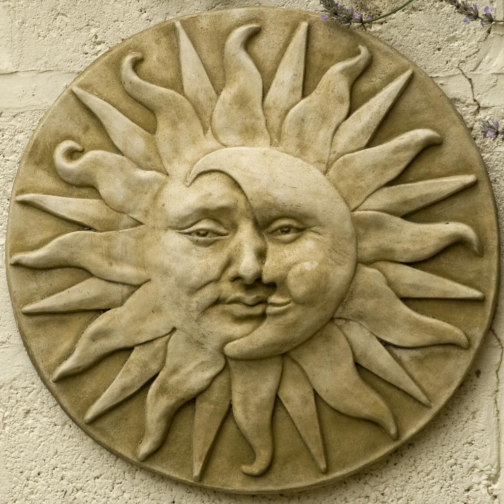 garden plaque sun moon face neal oxborrow flickr. Black Bedroom Furniture Sets. Home Design Ideas