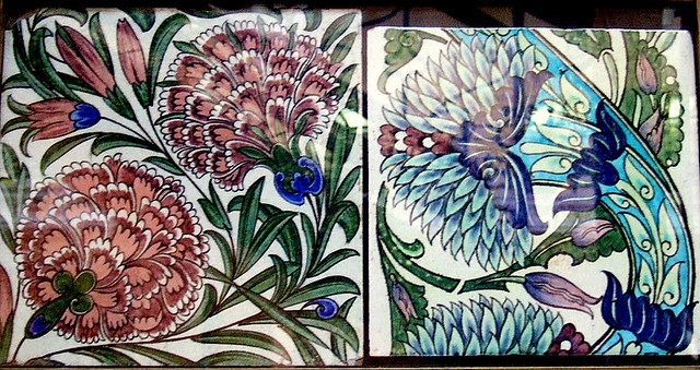 William De Morgan Tile Birmingham Museum Left Flower