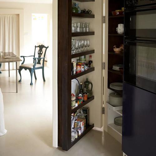 pantry storage white open plan dining room kitchen hidde