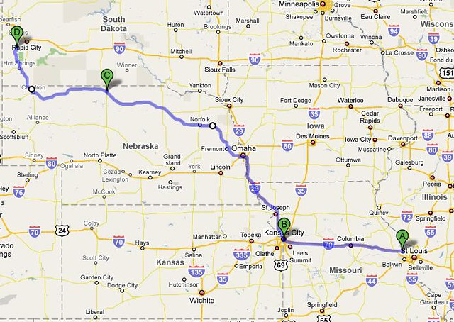 My Route To Hill City South Dakota A Started In St