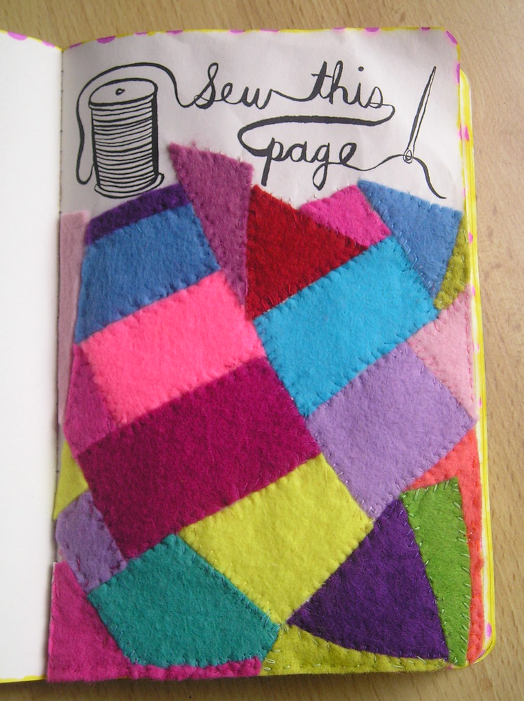 Wreck this journal day 6 ...... Sew this page   Sewn page ...  Wreck This Journal Sew This Page