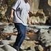 Dean, walking over the rocks