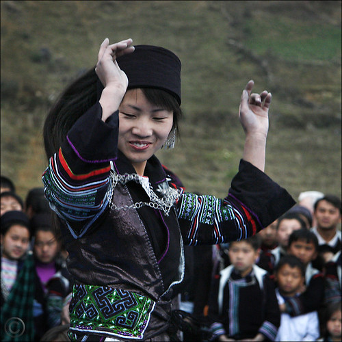 Monday Indigo Blues -- Hmong dancer over clapping Bamboo | by NaPix -- (Time out)