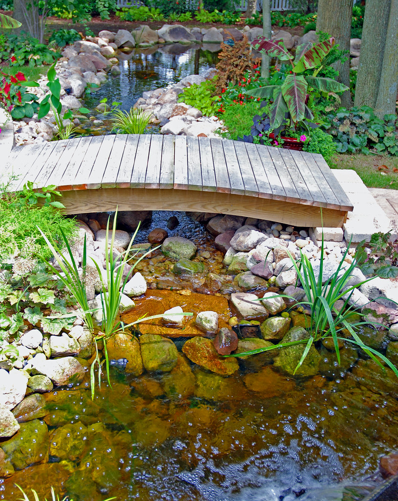 Backyard pond bridge small footbridge over backyard for Fish pond bridges