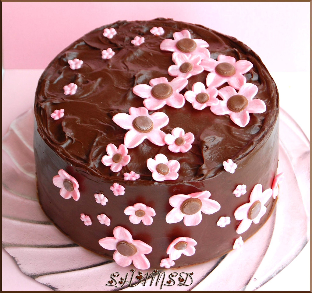 Chocolate Cake with Chocolate Flowers n Chocolate Ganache