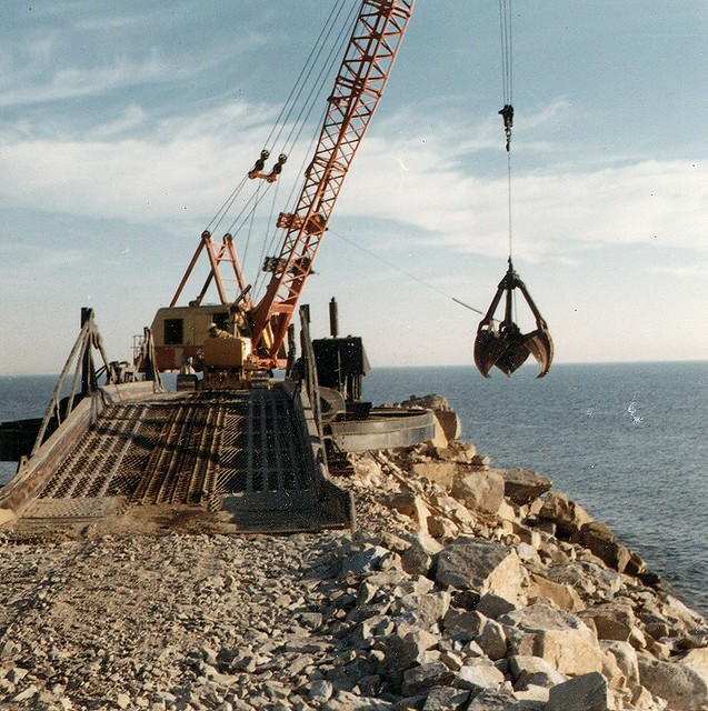 Jetty construction, Dana Point Harbor, Jan. 1967 | There ...