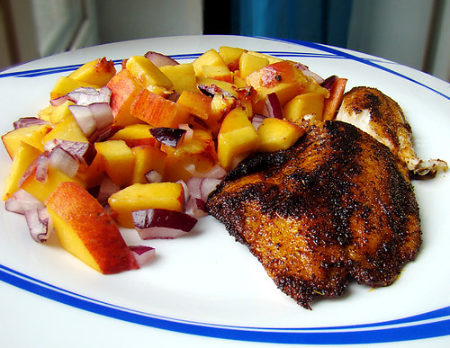 """blackened"" tilapia fillet with fruit salsa 