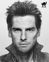 Tom Cruise drawn in Photoshop