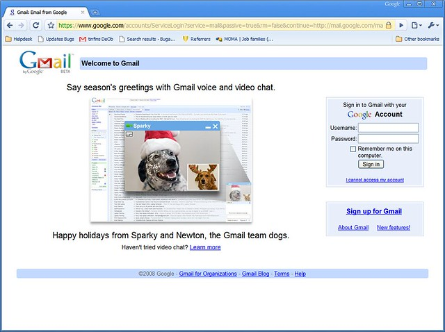 Sparky's on the Gmail login page!