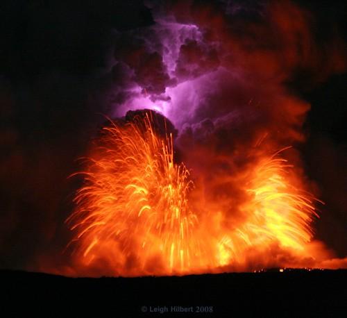 Lava Blast And Electric Lightning Bolt Within Moonlit Lava