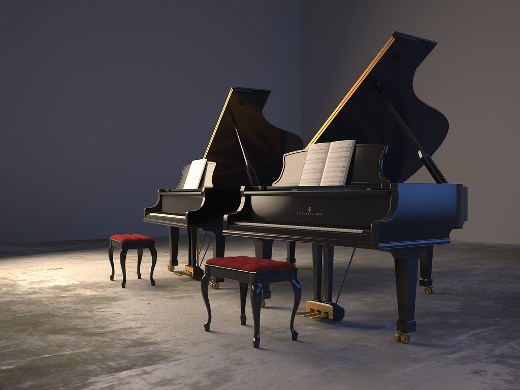 Steinway Pianos Modeled in 3d studio max | Grand and Baby ...