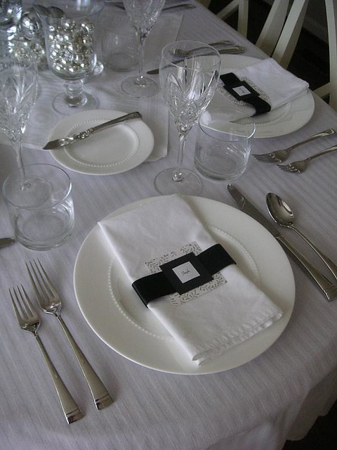 ... S_ripperton Black, White, Silver Table Setting | By S_ripperton