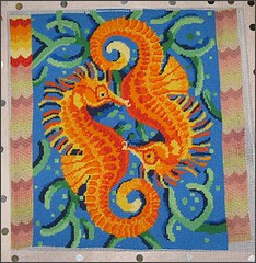 Seahorses needlepoint pillow top