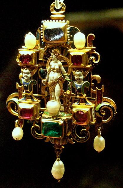 Gold enamelled gem-set...