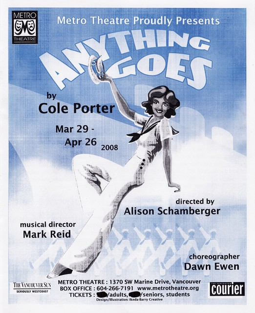 Sample flyer for Metro Theatre's Anything Goes, 2008.