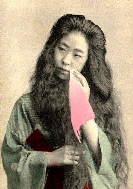 Geisha With Hair Down -- Richly Oiled Tresses Flow Down In -1148