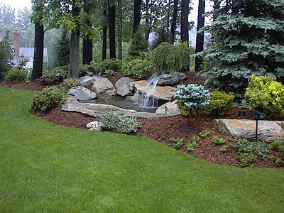 Waterfall lanscape small for Small backyard water gardens
