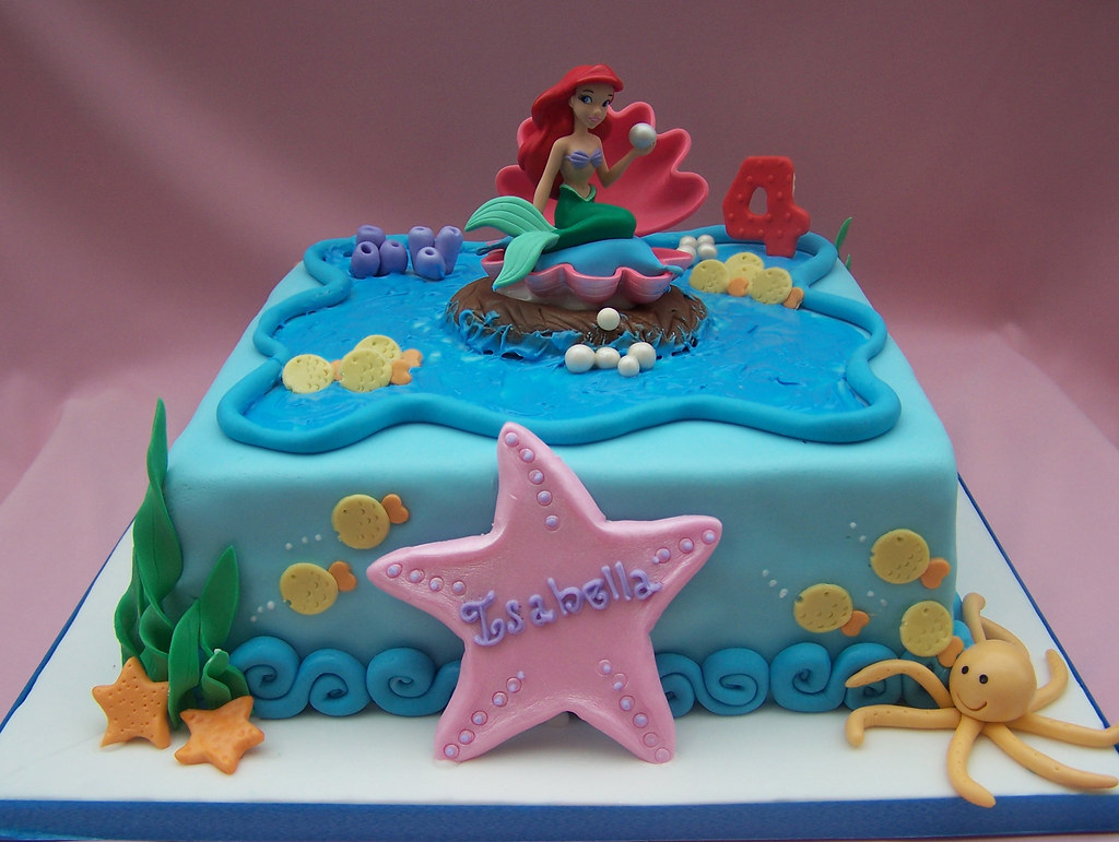 The little mermaid cake hand made decorations the for Ariel cake decoration