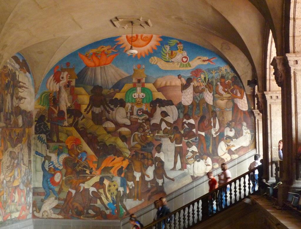 La leyenda de quetzalcoatl mural by diego rivera in the for Mural quetzalcoatl