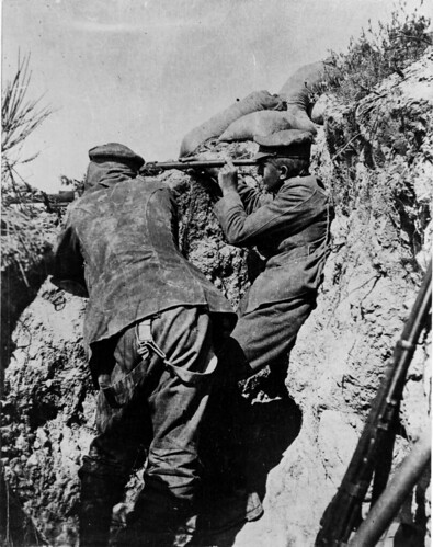 World War I soldiers in a trench during the Gallipoli campaign in Turkey, 1915 | by National Library NZ on The Commons
