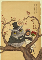 Poster for wedding of Owl and Swallow | by tpcat