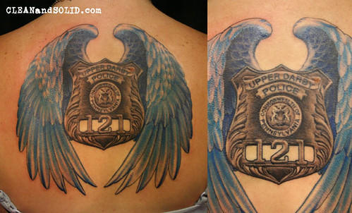 Badge with wings memorial custom tattooing by kevin rile for Law enforcement tattoos pictures