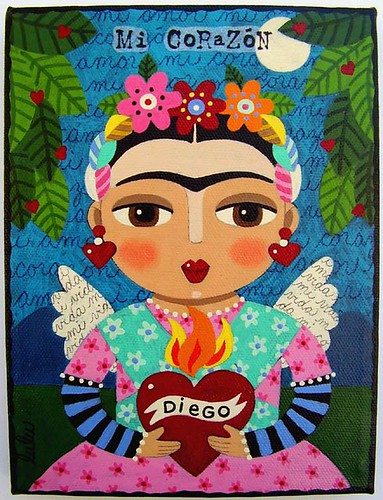 Frida Kahlo Amp Flaming Heart Painting By Lulu Flickr