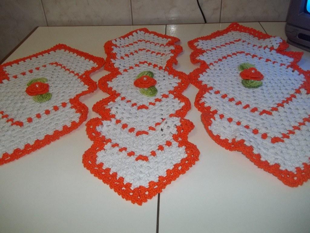 Conjunto para geladeira microondas caminho de mesa em croc - Mesa para microondas ...