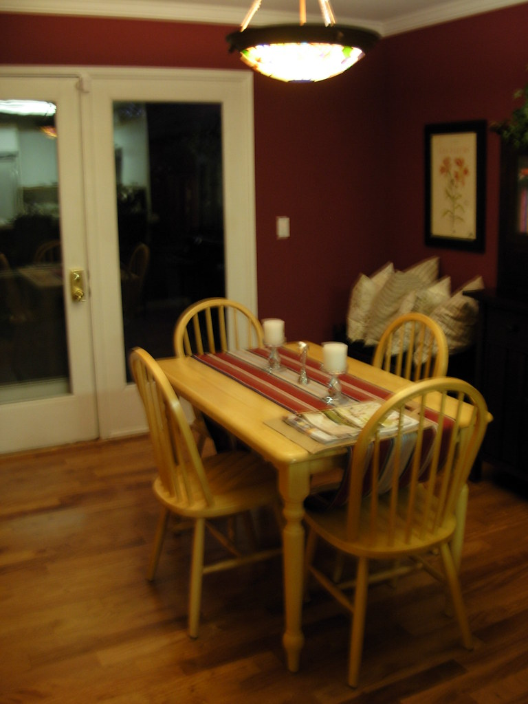After - pretty normal dining room with cool floors   Flickr