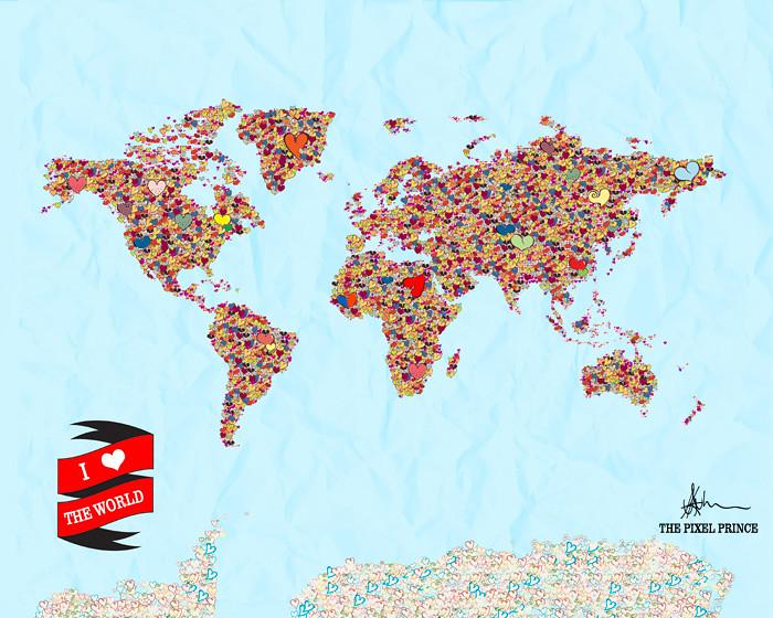 Heart World Map Tumblr I Heart The World Art Print