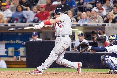 Albert Pujols hits a deep drive for a home run | by SD Dirk