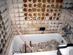 Old tub, tiles trashed