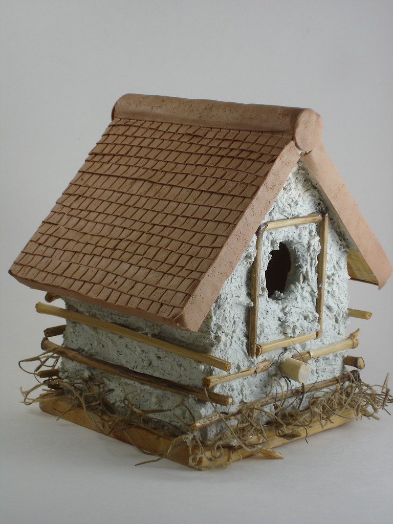 Polymer Clay Birdhouse Side View I Used A Wooden