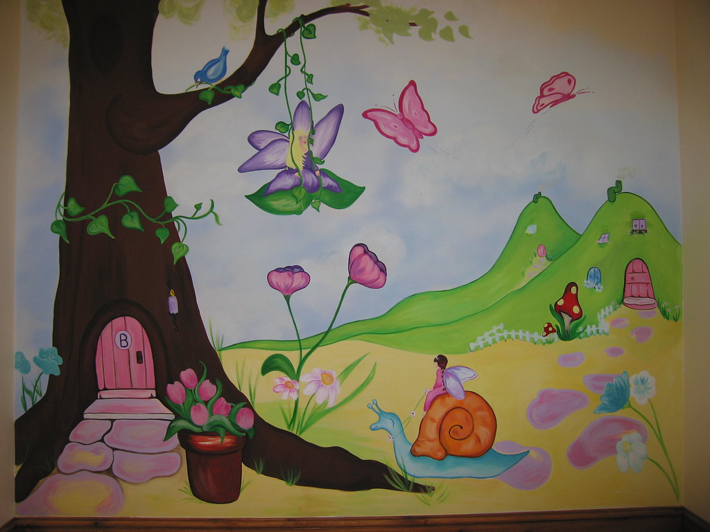 Fairy garden wall mural for Fairies wall mural