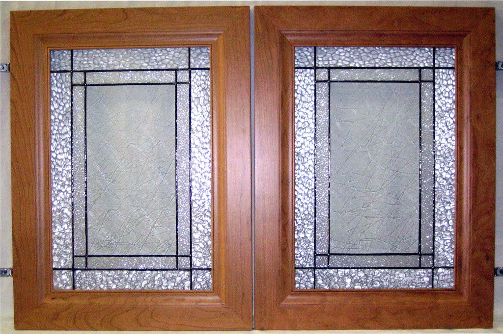 Custom kitchen cabinet doors clear textures in stained for Glass kitchen cabinet doors