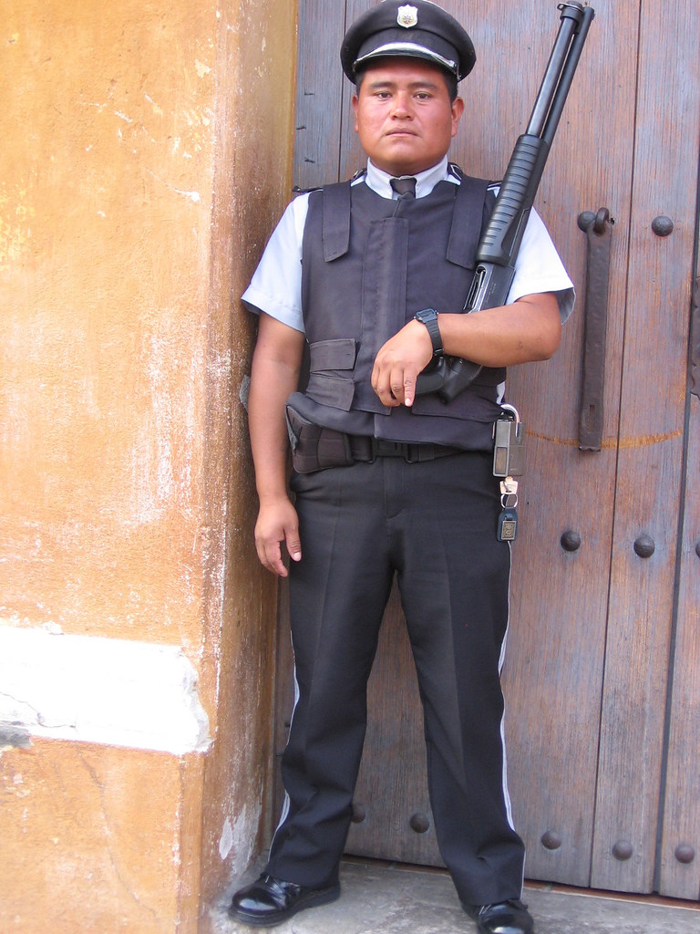 Security Guard At Guatemala Bank The Bank Guards Are All