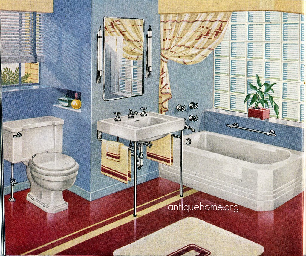 1940 39 s bathroom red and blue design love that red for Bathroom ideas 1920s home