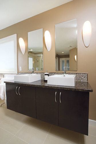 Modern Bathroom Two Sinks Dark Brown Wood Cabinets Flickr