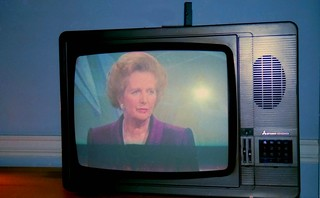 Margaret Thatcher on TV, Grafton Way, London, U.K., 1990. | by rahuldlucca