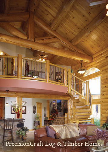 Loft in a custom milled log home precisioncraft log home for Log home with loft