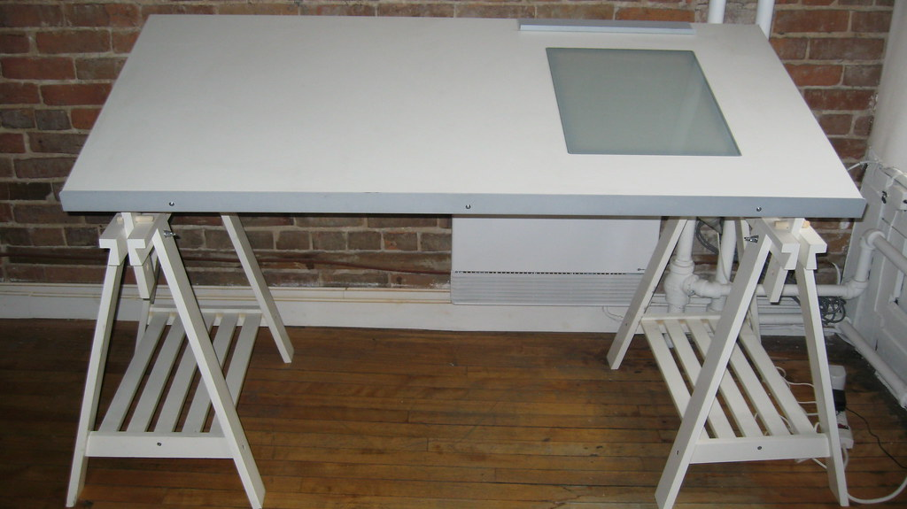 Ikea drafting table w light box 100 less than a year old flickr - Drafting desks ikea ...