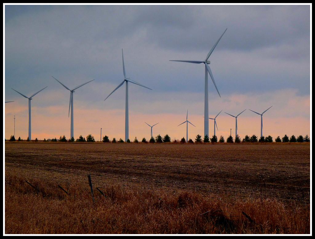 Iowa Windfarm  The Giant Turbines Of A Wind Farm Near