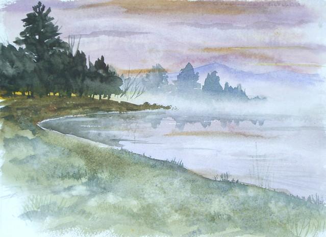 Watercolor Landscape Foggy Lake Watercolor On