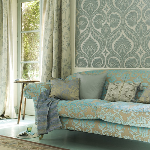 Modern wallpaper combining pattern in blue green living for Living room paper ideas